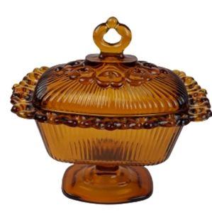 VTG Indiana glass wedding box candy dishlid amber